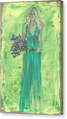 Purple Flowers Canvas Print - Green Goddess Dressing by PJ Lewis