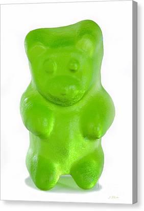 Green Gummy Bear Canvas Print by Iris Richardson