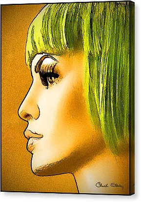 Green Hair Canvas Print by Chuck Staley