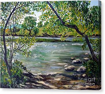 Green Hill Park On The Roanoke River Canvas Print by Julie Brugh Riffey