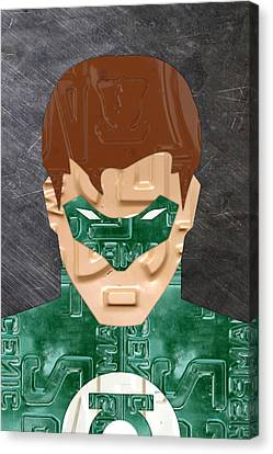 Green Lantern Superhero Portrait Recycled License Plate Art Canvas Print by Design Turnpike