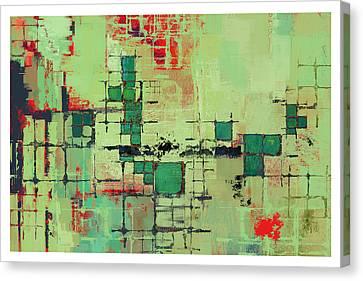 Green Lattice Abstract Art Print Canvas Print by Karyn Lewis Bonfiglio