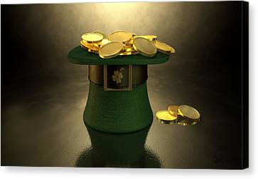 Fabric Canvas Print - Green Leprechaun Hat Filled With Gold Coins by Allan Swart