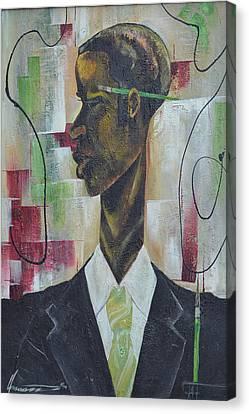 Green Light Green Stripe Canvas Print by Hasaan Kirkland