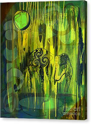 Canvas Print featuring the painting Green Light by Yul Olaivar