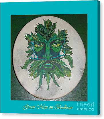 Canvas Print featuring the painting Green Man On Bodhran by Linda Prewer