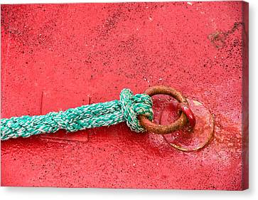 Green Marine Rope On Red Ship Canvas Print by Matthias Hauser