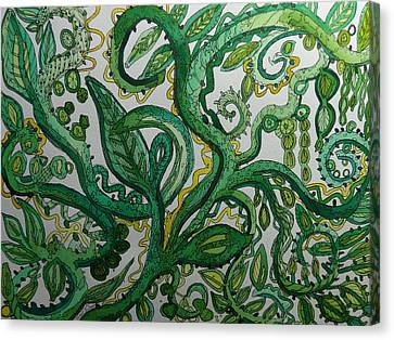 Green Meditation Canvas Print by Terry Holliday