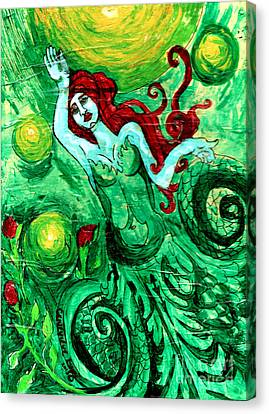 Green Mermaid With Red Hair And Roses Canvas Print by Genevieve Esson