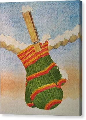Green Mittens Canvas Print by Mary Ellen Mueller Legault