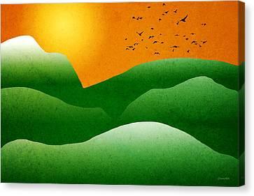 Nature Scene Canvas Print - Green Mountain Sunrise Landscape Art by Christina Rollo