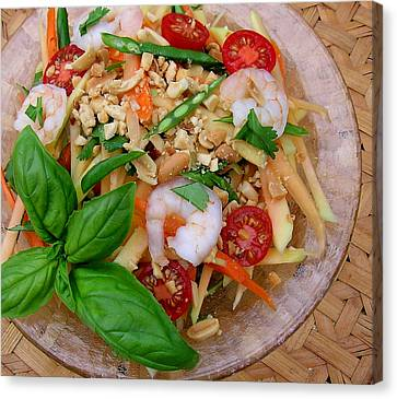 Green Papaya Salad With Shrimp Canvas Print by James Temple