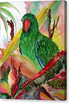 Canvas Print featuring the painting Green Parrot by Lil Taylor