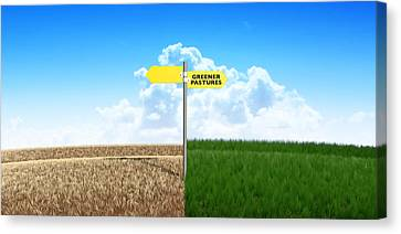 Green Pastures Sign Canvas Print by Allan Swart
