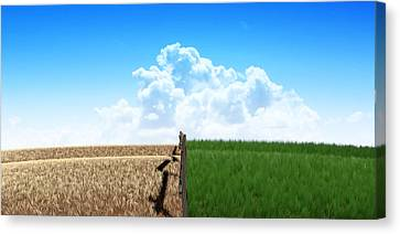 Green Pastures With Fence Canvas Print by Allan Swart