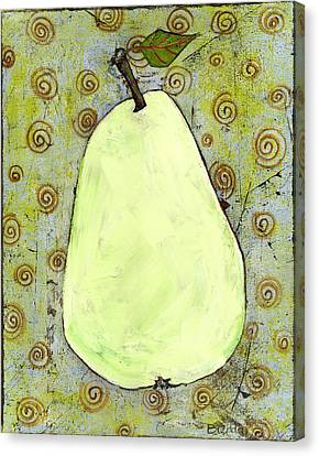 Blendastudio Canvas Print - Green Pear Art With Swirls by Blenda Studio