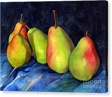 Green Pears Canvas Print by Hailey E Herrera