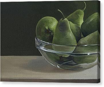 Green Pears Canvas Print by Natasha Denger