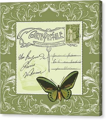 Victorian Canvas Print - Green Postcard by Marion De Lauzun