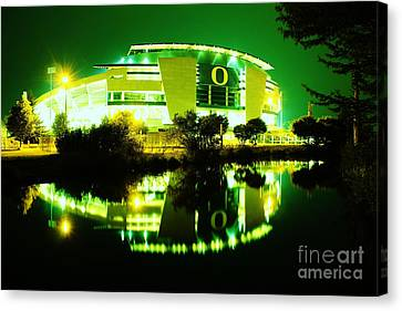 Green Power- Autzen At Night Canvas Print by Michael Cross