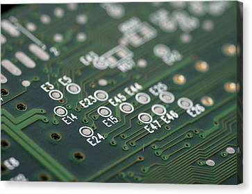 Green Printed Circuit Board Closeup Canvas Print by Matthias Hauser