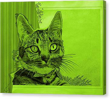 Green Sanguine ... Abstract Cat Art Painting Canvas Print by Amy Giacomelli