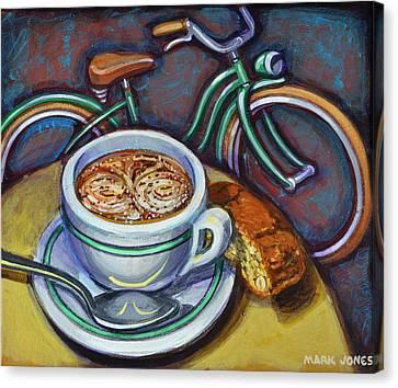 Canvas Print featuring the painting Green Schwinn Bicycle With Cappuccino And Biscotti. by Mark Howard Jones