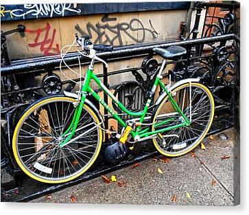 Canvas Print featuring the photograph Green Schwinn Bike  Nyc by Joan Reese