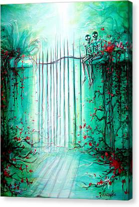 Green Skeleton Gate Canvas Print by Heather Calderon