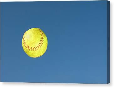 Green Softball Canvas Print