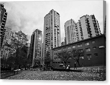 Green Space In Front Of High Rise Apartment Condo Blocks In The West End Between Robson And West Geo Canvas Print by Joe Fox