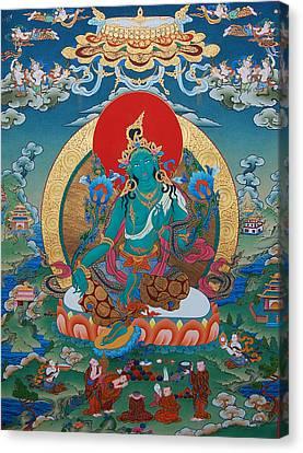 Tibetan Canvas Print - Green Tara by Binod Art School