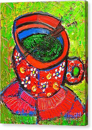 Green Tea In Red Cup Canvas Print by Ana Maria Edulescu