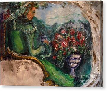 Canvas Print featuring the painting Green Tea In The Garden by Laurie L