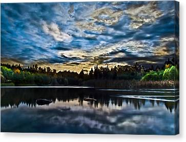 Green Timbers Park With Blue Sunset Canvas Print by Eva Kondzialkiewicz