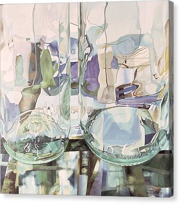 Green Transparency Transparence Verte 1981 Oil On Canvas Canvas Print by Jeremy Annett