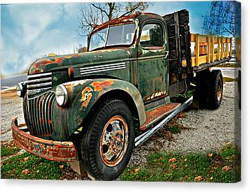 Green Truck Canvas Print by Marty Koch