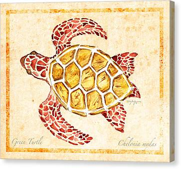 Turtle Shell Canvas Print - Green Turtle For Study by William Depaula