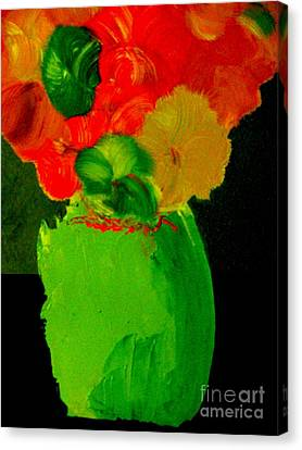 Canvas Print featuring the painting Green Vase 22 by Bill OConnor