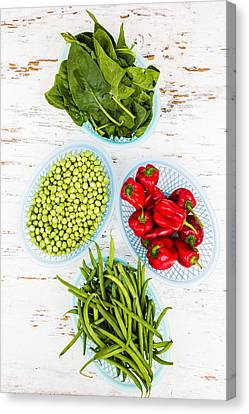 Green Vegetables And Red Chili Canvas Print