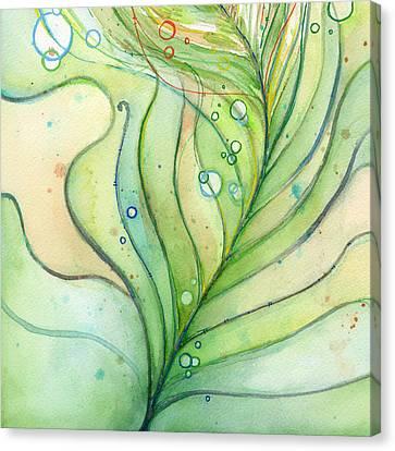 Green Watercolor Bubbles Canvas Print by Olga Shvartsur