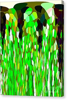 Green Waterfall Abtract Canvas Print by Saundra Myles