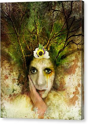 Wiccan Canvas Print - Green Woman by Michael Volpicelli