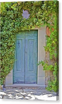 Green Wood Door Of Tuscany Canvas Print