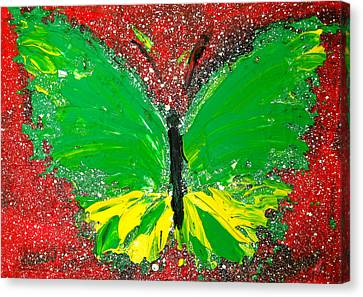 Green Yellow Butterfly With Red Background Canvas Print by Patricia Awapara