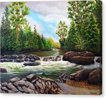 Greenbrier Cascades Canvas Print by Joan Swanson