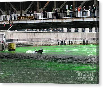 Greening The Chicago River Canvas Print