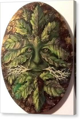 Canvas Print featuring the painting Greenman by Megan Walsh