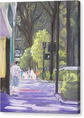 Canvas Print featuring the pastel Greenville Street Scene by Robert Decker