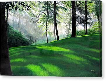 Greenway Hazy Morning Canvas Print by David Bottini